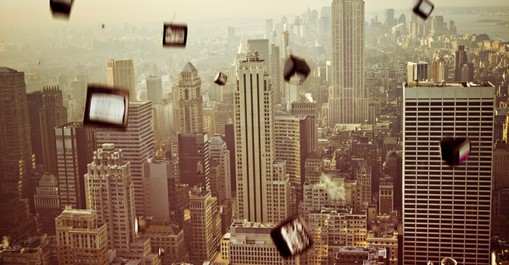 Image of falling televisions over New York City